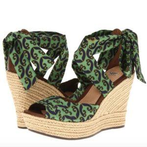NWT UGG Australia Silk Tie Up Wedge sandals 9.5